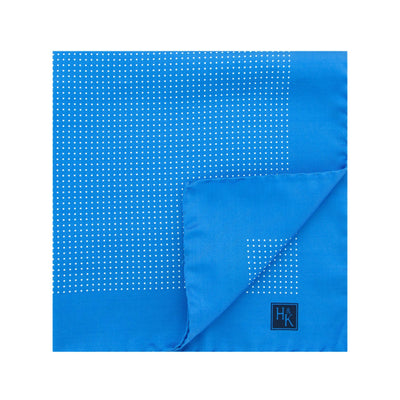 Blue Silk Handkerchief with White Pin Spots