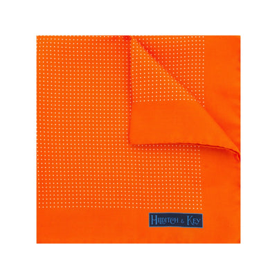 Orange Silk Handkerchief with White Pin Spots