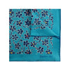 Turquoise Silk Handkerchief with Navy Floral