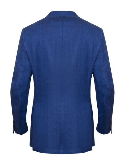 Blue Herringbone Linen Jacket