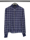 Navy & Cream Check Cotton & Linen Jacket