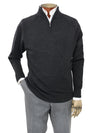 Plain Charcoal Grey Single Ply Merino Wool Zip Neck Pullover