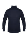 Plain Navy 2-Ply Extra Fine Merino Wool Roll Neck Pullover