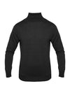 Plain Charcoal 2-Ply Extra Fine Merino Wool Roll Neck Pullover