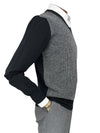 Black 2-Ply Lambswool V-Neck Pullover