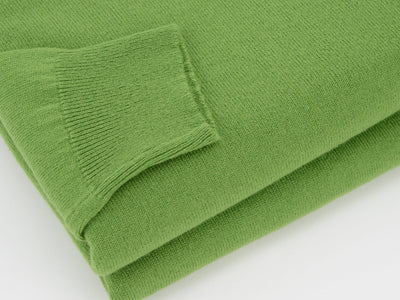 Plain Lime Green 2-Ply Cashmere V-Neck Pullover