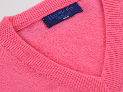 Plain Light Pink 2-Ply Cashmere V-Neck Pullover