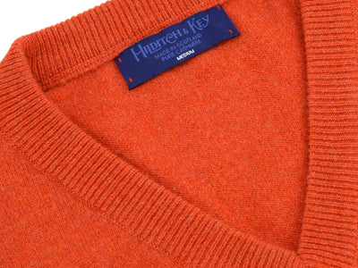Plain Dark Orange 2-Ply Cashmere V-Neck Pullover