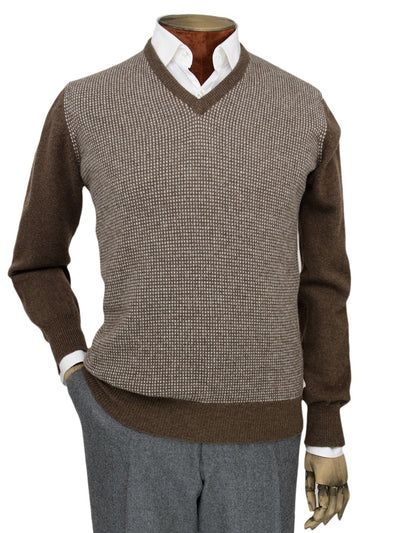 Brown 2-Ply Lambswool V-Neck Pullover