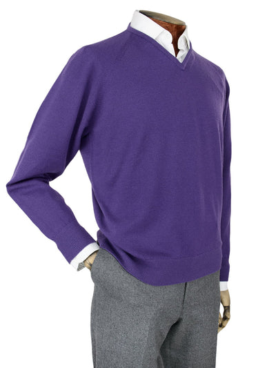 Plain Purple Single Ply Merino Wool V-Neck Pullover