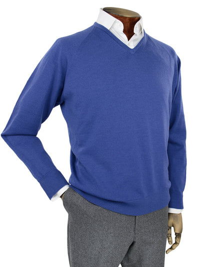 Plain Royal Blue Single Ply Merino Wool V-Neck Pullover