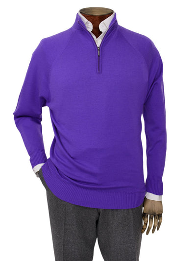 Plain Purple Single Ply Merino Wool Zip Neck Pullover