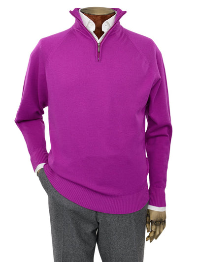 Plain Cerise Pink Single Ply Merino Wool Zip Neck Pullover