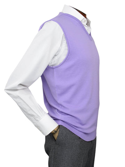 Plain Lilac Single Ply Merino Wool V-Neck Slipover