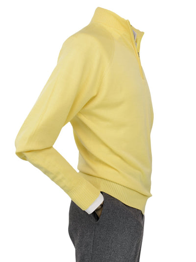 Plain Yellow Single Ply Merino Wool Zip Neck Pullover