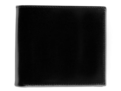 Black with Red Calf Leather Classic Billfold Wallet