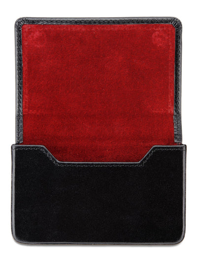 Black Calf Leather with Red Suede Business Card Holder