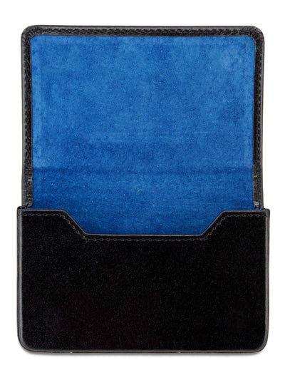 Black Calf Leather with Blue Suede Business Card Holder