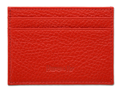 Red Calf Leather Double Sided Card Holder