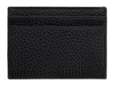 Black Calf Leather Double Sided Card Holder