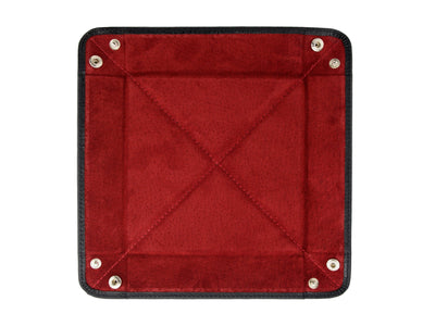 Black Calf Leather with Red Suede Travel Tray