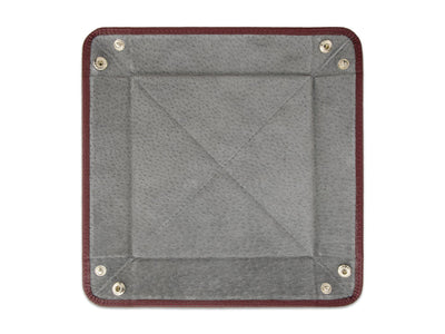Burgundy Calf Leather with Grey Suede Travel Tray
