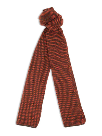 Red & Brown Birdseye Knitted Cashmere Scarf