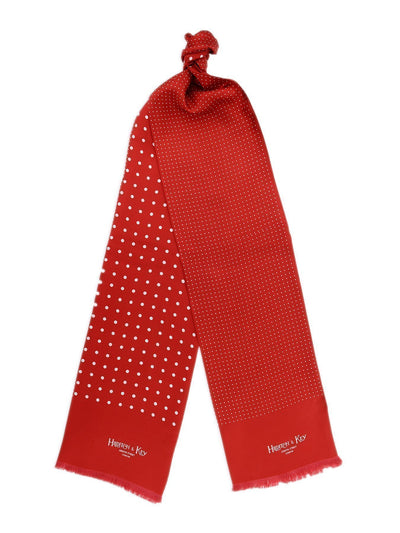 Red with White Spots Silk Tubular Scarf