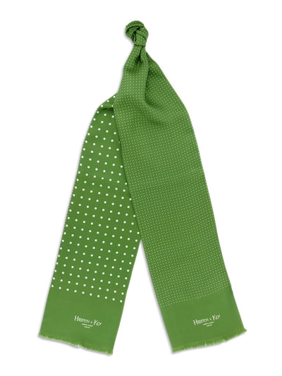Green with White Spots Silk Tubular Scarf