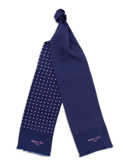 Navy with Pink Spots Silk Tubular Scarf