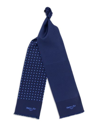 Navy with Blue Spots Silk Tubular Scarf