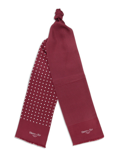 Burgundy with White Spots Silk Tubular Scarf