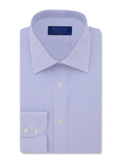 Classic Fit, Classic Collar, 2 Button Cuff Shirt in a Blue & White Stripe Poplin Cotton