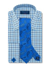Classic Fit, Classic Collar, Double Cuff Shirt in a Blue, Navy, Light Blue & White Check Twill Cotton