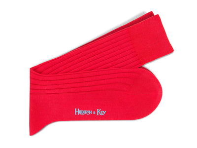 Short Plain Red Cotton Socks