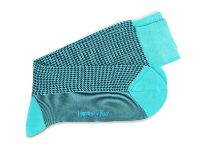 Short Turquoise & Navy Houndstooth Cotton Socks