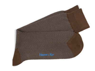 Short Brown Herringbone Cotton Socks