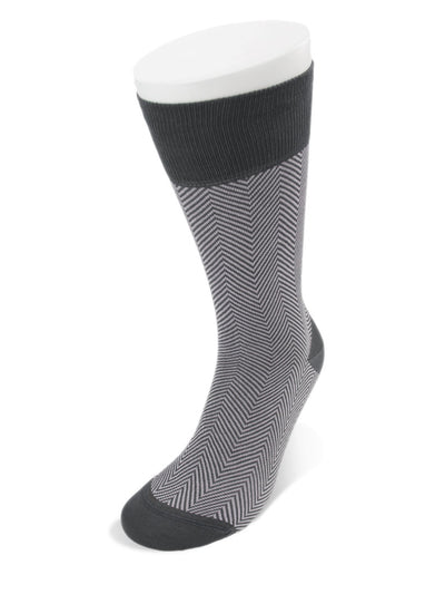 Short Grey Herringbone Cotton Socks