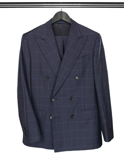 2 Piece, Navy Checked Double Breasted Suit