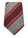 Grey with Red Stripes Woven Cashmere, Wool & Silk Tie