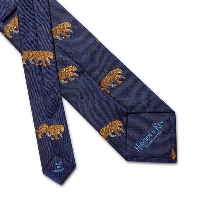 Big Cat Sanctuary Leopard Woven Silk Tie In Navy