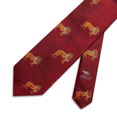 Big Cat Sanctuary Lion Woven Silk Tie In Red