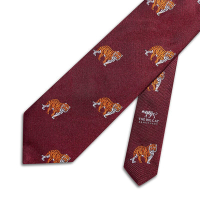 Big Cat Sanctuary Tiger  Woven Silk Tie In Burgundy