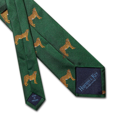 Big Cat Sanctuary Cheetah Woven Silk Tie In Green