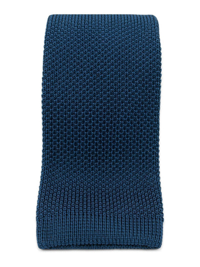 Plain Navy Knitted Silk Tie