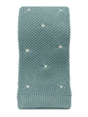 Dusky Blue Knitted Silk Tie with White Spots