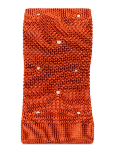 Orange Knitted Silk Tie with White Spots