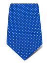 Mid Blue Printed Silk Tie with White Pin Spots