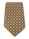 Gold with Blue & Navy Links Printed Silk Tie