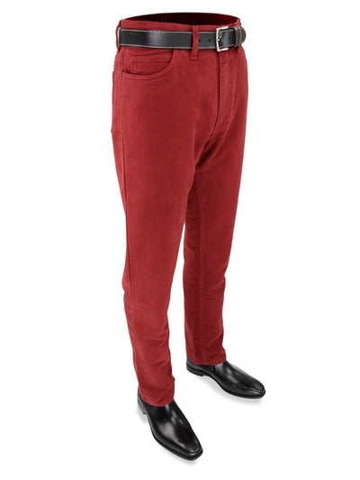 Plain Cranberry Red Cotton Moleskin Jeans